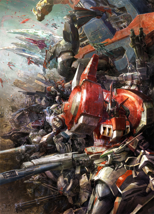 A picture of various mecha from Super Robot Wars