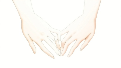 A picture of Fumi squeezing Akira's pinky with her own