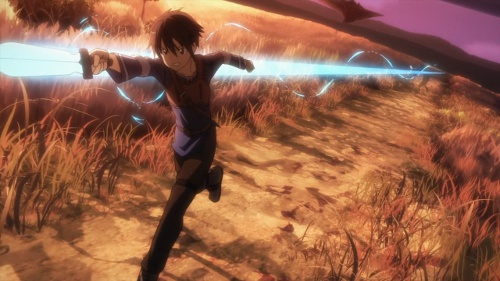 A shot of Kirito following through a thrust attack against a wolf.
