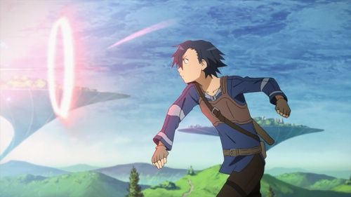 A shot of Kirito throwing a stone with cool effects thrown in.