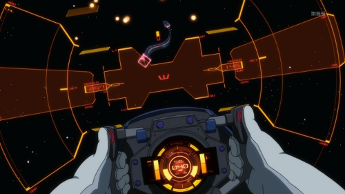A shot of the Nirvash's cockpit in 1st-person view.