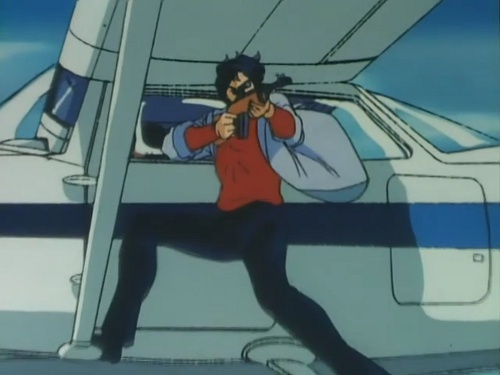 Ryo Saeba taking aim from the wing of an airplane