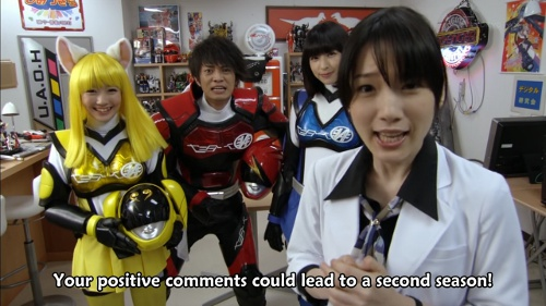 The Akibarangers beseeching you, the viewer, to help them get a second season!